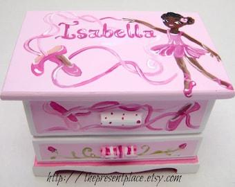 personalized jewelry box,African American Ballerina,ballet recital gift,pink jewelry box, girls jewelry box,child's jewelry box, ballerina