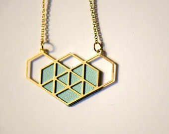 geometric blue heart necklace