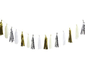 Tissue Tassel Garland (Cream, Gold, White, Silver)