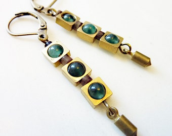 Brass Squares and Green Aventurine Beads, Geometric Cube,  Czech Glass, Round Circle, Green Light Earrings