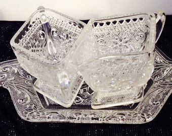 Vintage Indiana Glass Tiara Sandwich Glass Cream and Open Sugar on Matching Tray, Pattern # 170, Daisy and Scrolls.