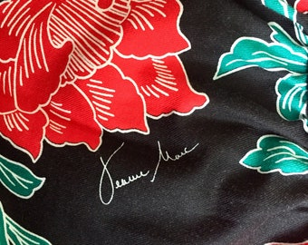 80's Jeanne Marc Signature Red Flowered Dress