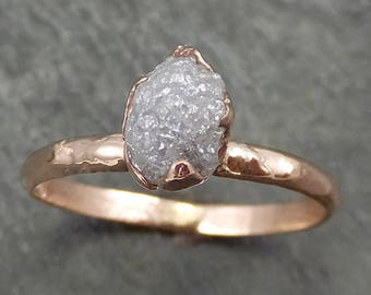 Raw Diamond Solitaire Engagement Ring Rough Uncut Rose gold Conflict Free Silver Diamond Wedding Promise 0694