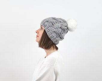 Cable Knit Hat with Faux Fur Pom, Wool Blend | THE BELFAST in Earl Grey with White Pom