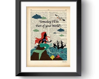 Ariel the Little Mermaid dictionary print-ariel mermaid print-Nursery print-Ariel print-fairy tale print-mermaid print-by NATURA PICTA-DP164
