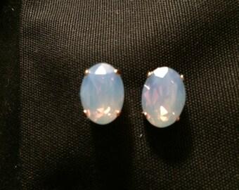 Swarovski Air Blue Opal Stud Earrings