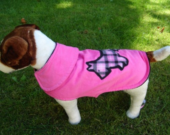 Dog Coat - Hot Pink Corduroy with Scottie Applique Coat- Size  Small- 12 to 14 Inch Back Length - Or Custom Size