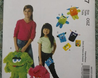 Monster Backpack, Cases, and Toys Complete Uncut/FF McCall's Crafts Sewing Pattern M6337