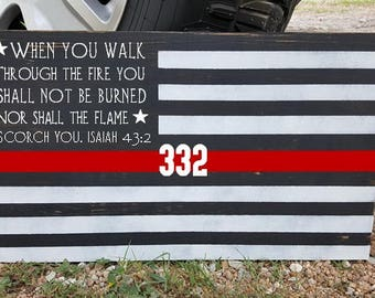 Fireman's American Flag with Red Honor Line Wood Sign