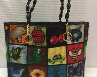 Tapestry Tote, Butterflies, Cherries, Birds, Shoulder Bag, Purse
