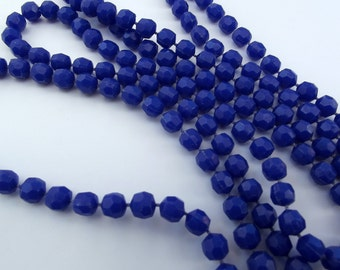 Vintage necklace - Dark Blue self strung plastic beads - Costume Jewelry