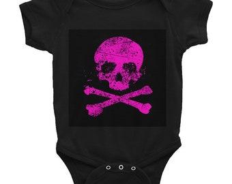 Infant Baby Toddler Child Bodysuit Vest Skull Crossbones Cross Bones Pink Black Jolly Roger Pirate