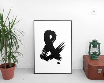 Ampersand Print, Ampersands, Printable poster, Typography, Printable art, Scandinavian poster, Modern art, Minimal art, Typography poster