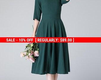 linen summer dress, dark green dress, knee length dress, summer dress, pleated dress, womens dresses, fit and flare dress 1903