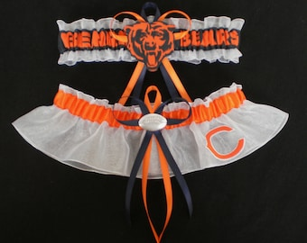 Chicago Bears Fabric Logo  Wedding Garter Set Prom  Football Charm