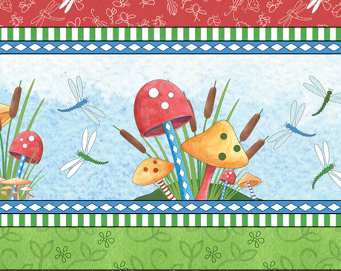 IT'S A POND, Children's Cotton Linear Stripe 44 inches by Quilting Treasures