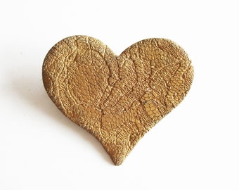 Vintage Large Gold Lace Embossed Ceramic Heart Pin / Brooch