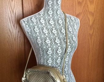80s Tandem Bags of California Gold Vegan Leather Woven Crossbody/Shoulder Bag - Festival, Boho, Glam