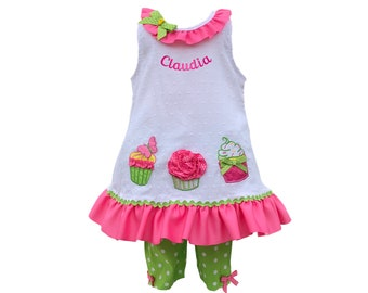 24 months  cupcakes baby dress to have your baby's name embroidered for free
