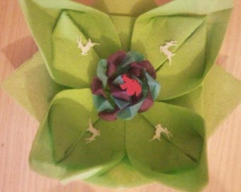 folding nenuphare towel green with small deco crepe