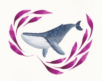 Watercolor humpback whale
