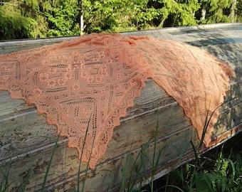 "Handknitted Haapsalu shawl, Estonian lace, delicate shawl, wrap, merinowool, festive, orange ""Mandala"". Ready to ship."