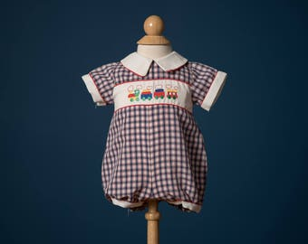 Vintage Navy Blue Plaid Embroidered Train Romper (Size New Born