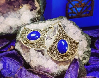 Styled Handmade Earring In Silver 925 And Lapis Lazuli Stone