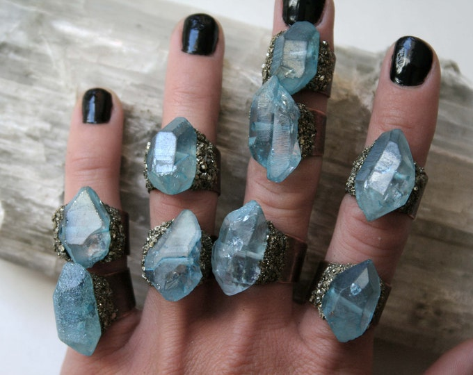 Aqua Aura Quartz Crystal Ring // Light Blue Iridescent Crystal Adjustable Size Ring with Pyrite