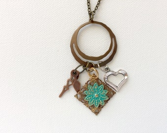 Reclaimed Parts Charm Necklace, Teal Copper and Antique Bronze Necklace, Steampunk Jewelry, Pendant Clock Hands Hearts and Flower Necklace