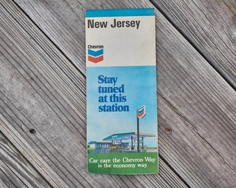 Vintage New Jersey road map from Chevron 1970