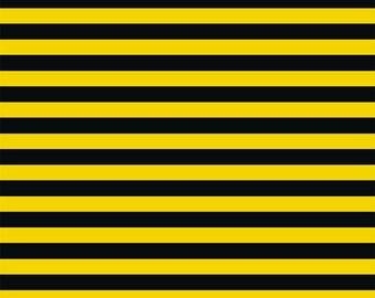Yellow black stripes CL US knit 1/2 yard knit fabric