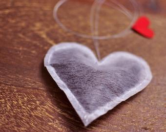 Heart Shaped Tea Bags, Black tea, White tea, Peppermint infuser