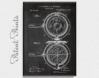Waffle Iron 1883 Patent Print, Kitchen Wall Decor, Kitchen Wall Art, Restaurant Decor, Dining Room Wall Decor