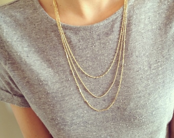 Dainty Necklace, Layered Necklace, Bridal Jewelry, Bridesmaids, gold necklace, Romantic Necklace, Vintage Style, Long Necklace