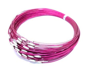 1 x round neck Cable wire 1 mm neon pink screw clasp
