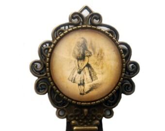 Alice in Wonderland Original Book Art - Alice Watching Bookmark