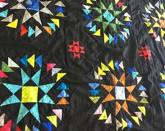 Stars with Flying Geese - QUILT TOP - Masterpiece Patchwork with great borders