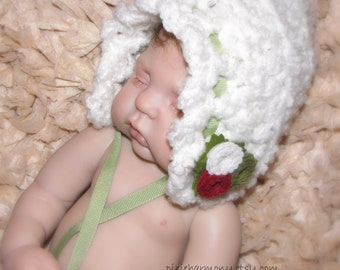 Baby Girl Bonnet Hat w Rosettes - Christmas - Autumn - Newborn - Reborn Doll - Photo Props - Made to Order