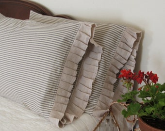 country French linen and ticking  pillowcases
