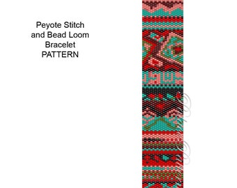 Tribal4 - Peyote Stitch Bracelet Pattern or Bead Loom Bracelet Pattern - Tribal Delica Bead Pattern
