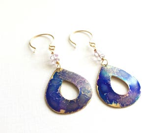 Violet Watercolor Patina Open Tear Drop Earrings