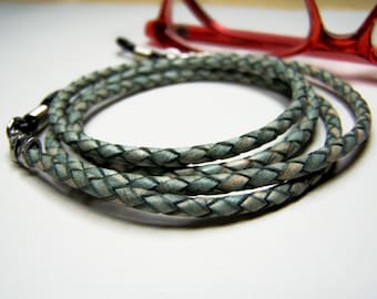 Braided Leather Eyeglass Chain, Green Cord for Glasses, Eyeglass Necklace, Custom Made 24-34 inchs, by Eyewearglamour