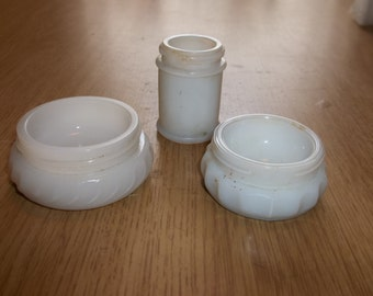 Milk Glass VANITY JARS Oinment Face Cream Cosmetic JARS 3 Vintage