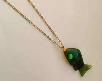 Vintage Jade Fish/ Pisces Pendant, Genuine Gemstone Charm, Nautical Sea Ocean Jewelry, Carved Jade - Christian Fish by enchantedbeas on Etsy