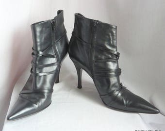 Vintage Stiletto Ankle Boots / size 10 Eu 42 Uk 7 .5  / VIA SPIGA made in Italy / Black Leather Side Zip Harness Straps Pointy Toe