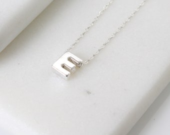 Sterling Silver Initial E Pendant Necklace • Letter Necklace • Initial Pendant • Initial Jewellery • Personalised Initial Necklace