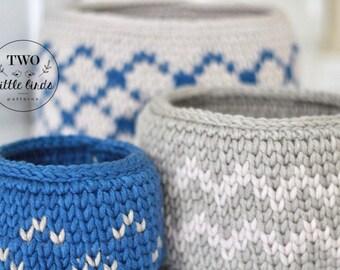 Crochet pattern, crochet basket pattern, crochet basket, nesting baskets, crochet home decor, basket set, crochet storage, ELODIE BASKET SET