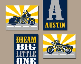 MOTORCYCLE Wall Art, Motorcycle Decor, CANVAS or Prints, Baby Boy Nursery Art, Big Boy Room Decor, Dream Big Little One, Set of 4 Pictures