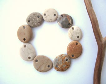 Beach Stone Beads Double Drilled Mediterranean Stones Natural Stone Pebble Beads Rock Links DIY Jewelry Connectors SWEET LINKS 15-19 mm